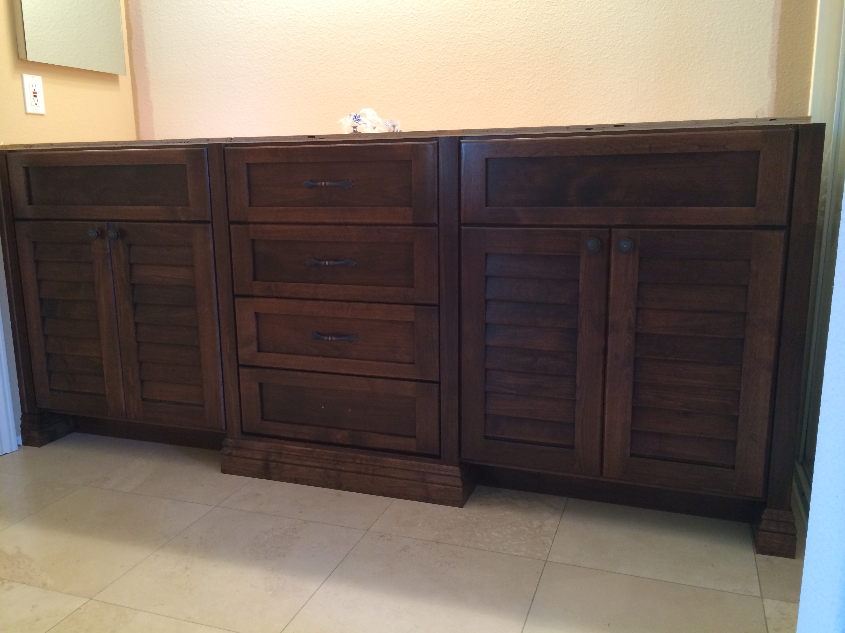 August Oak Woodworks Temecula California Bathroom Vanities August - Louvered door bathroom vanity